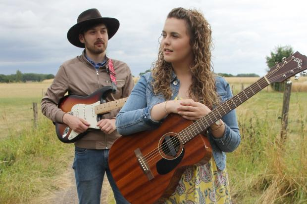A LITTLE BIT COUNTRY: Katee Kross and Ross Barron while on tour in Germany.