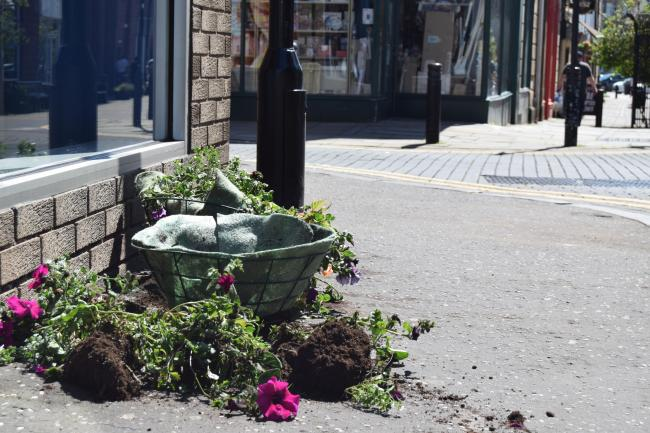 One of the damaged hanging baskets, pictured on the Monday after the incident