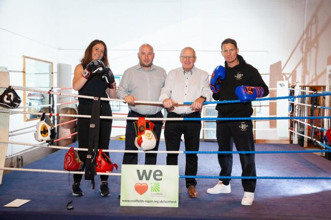 SUPPORT: Yana Swanson and Brian Candlish of Alloa Boxing Club, with Bob Young, CRT Scotland trustee and John Whyte of Alloa Boxing Club
