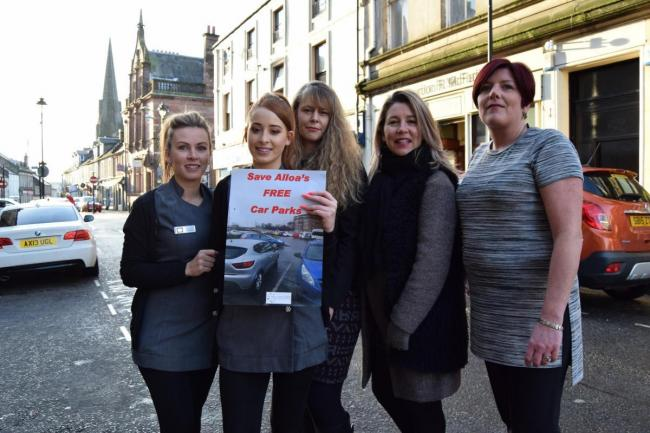 Traders gathered in Mill Street, Alloa, and started a petition against any car parking charges when the idea first surfaced