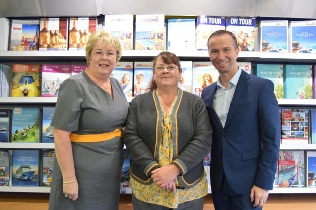 Manager Marie Campbell, travel consultant Margo Nicoll and regional manager Steven Reilly
