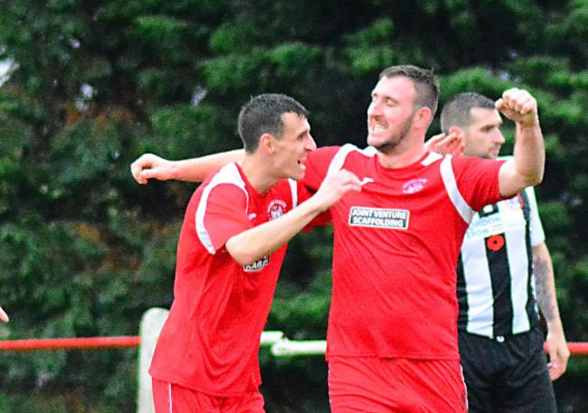 BACK AT IT: Tully (right) celebrates his goalscoring return to Sauchie. Picture by Jan van der Merwe