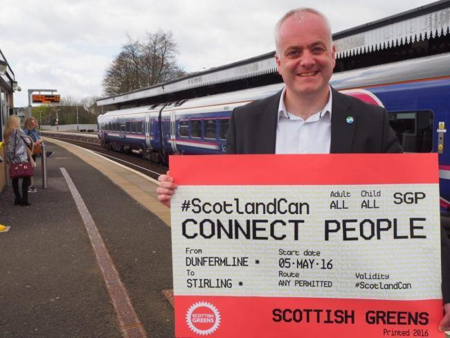 MSP Mark Ruskell campaigning to re-open the Alloa-Dunfermline railway line to passengers in 2016