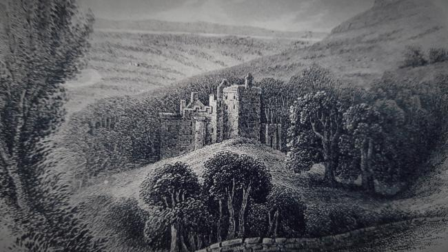 An engraving of Castle Campbell in Dollar