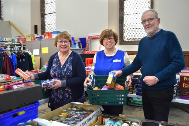 Foodbank co-ordinator Adrienne Hilton (left) with volunteers at The Gate