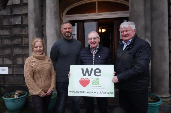 Caroline Berry of the Scottish Mining Convalescent Trust, Fife Employment Action Trust operations manager Martin McDonald and CRT trustees Bob Young and Nicky Wilson