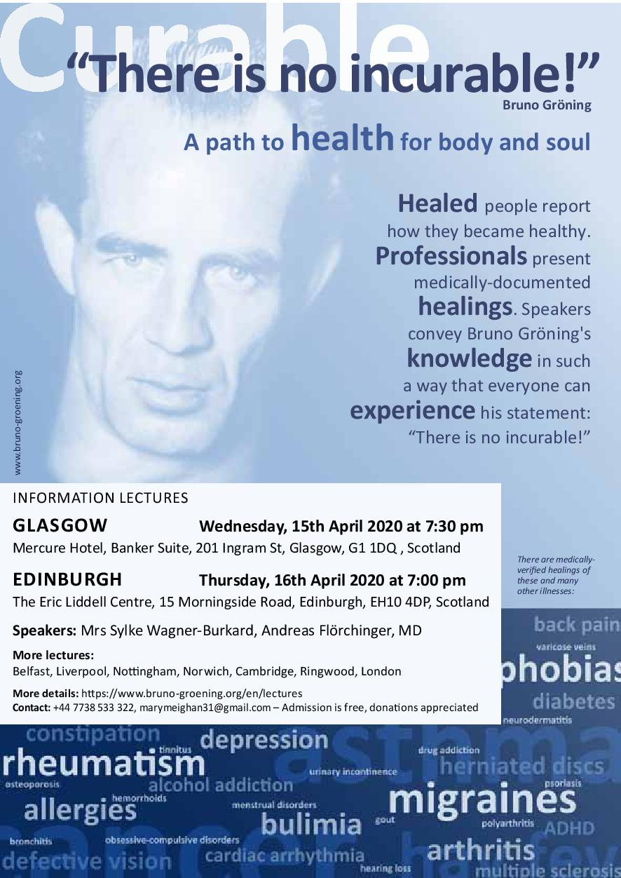 """There is no incurable!"" A path to health for body and soul. Invitation to an International Lecture."