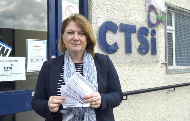 Anthea Coulter, chief officer at CTSi, pictured a few weeks ago with contact forms created in the wake of the crisis