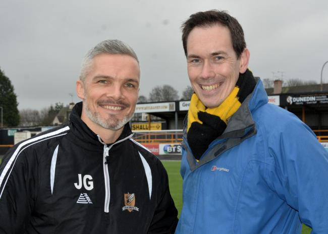 Jonathan with former Wasps manager Jim Goodwin at The Recs. Picture by David Glencross