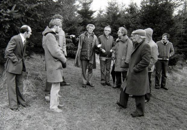 Alloa and Hillfoots Advertiser: Members of the British UFO Research Association National Conference with Robert Taylor at the site he saw a UFO near Livingston, West Lothian, in 1979