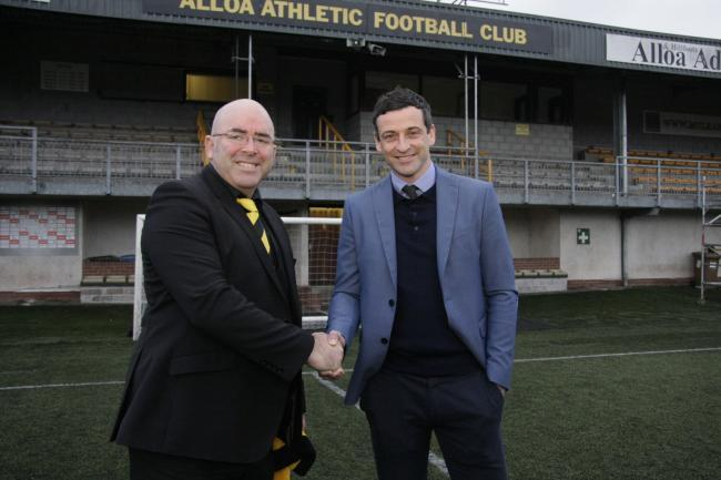 Jack Ross, right, with Alloa chairman Mike Mulraney