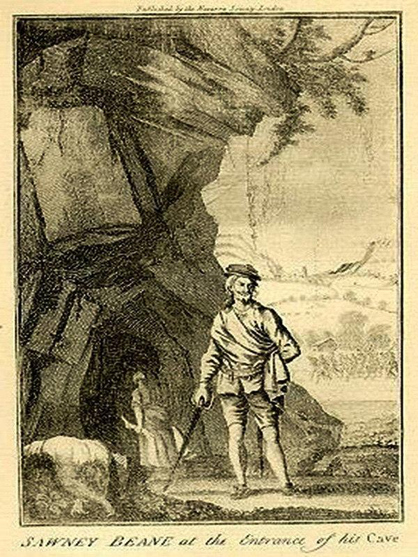 Alloa and Hillfoots Advertiser: An illustration of Sawney Bean outside his cave