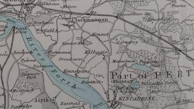 A map showing Kilbagie