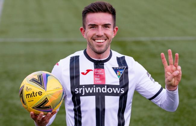 O'Hara claimed his first career hat trick on his return to Clacks on Saturday. Picture from DAFC wesbite