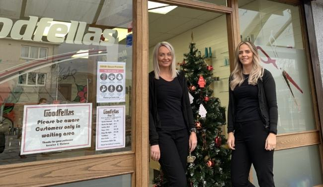 HELPING HAND: Lorraine Jack (left) and Colleen Hislop (right) with their giving tree inside the Goodfellas hairdressers in Tullibody