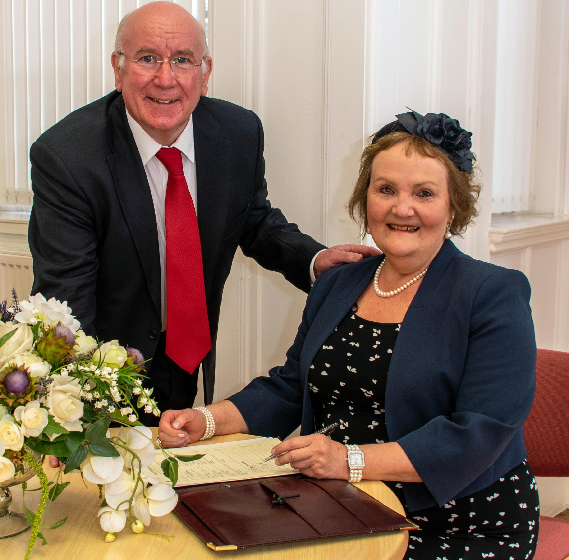 Viv and Alan become first couple to enter a mixed-sex civil partnership in Clacks