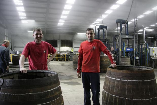 Alloa and Hillfoots Advertiser: Steven Langlands and Ian Sweeney with their casks before the ceremony