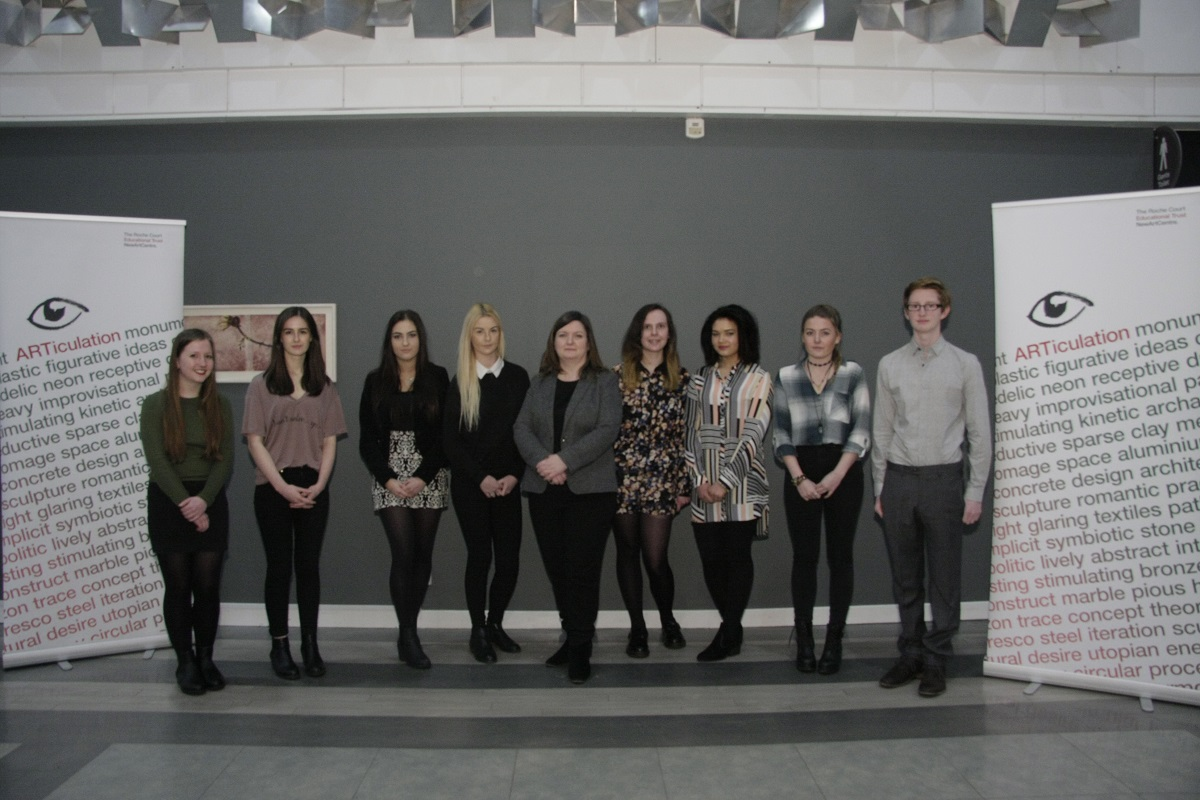 Catherine Eckersall, Alice Murray, greta Martyniuk, Callie Burns, Katrina Brown, Aimee Finlay, Matilda Williams, Molly Burr and Sam Hewiston at the finals of ARTiculation