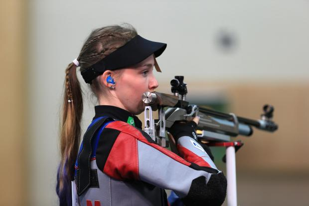 Alloa and Hillfoots Advertiser: Commonwealth Games shooting at the Barry Buddon Shooting centre Carnoustie ; Womens 10m Air Rifle Qualification; Seonaid McIntosh bows out in  qualification 26/7/14 SC