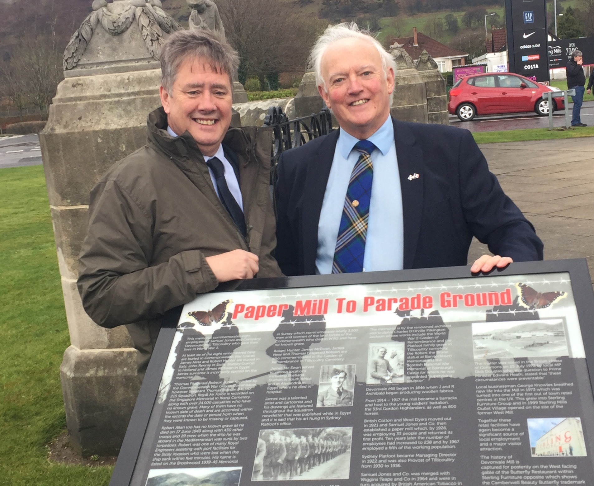 HIGHLIGHTS: MSP Keith Brown and Councillor Archie Drummond (right) launching the mini war memorial trail in Tillicoultry