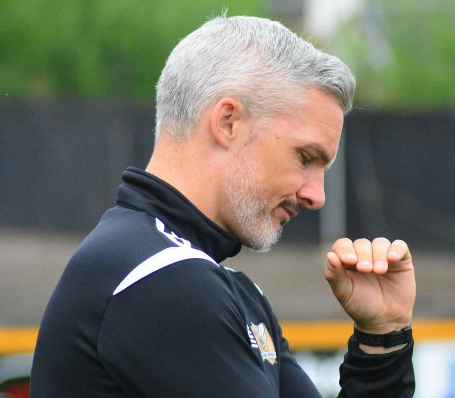 NOT ON: Jim Goodwin insists his side should have been awarded a penalty with the game balanced at 1-0. Picture by Jan van der Merwe