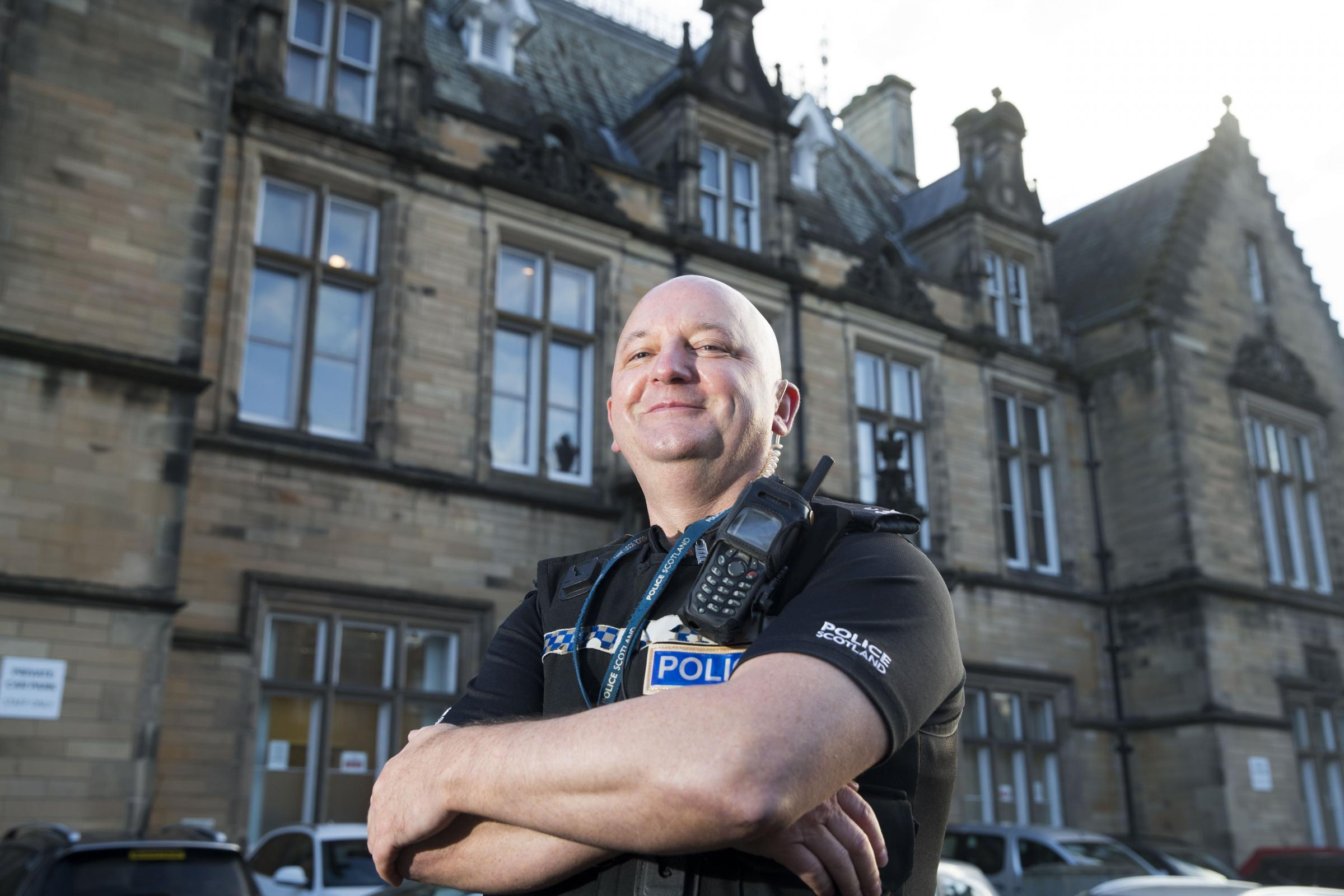 Constable Cameron outside Stirling Sheriff Court.  Picture by Jeff Holmes.