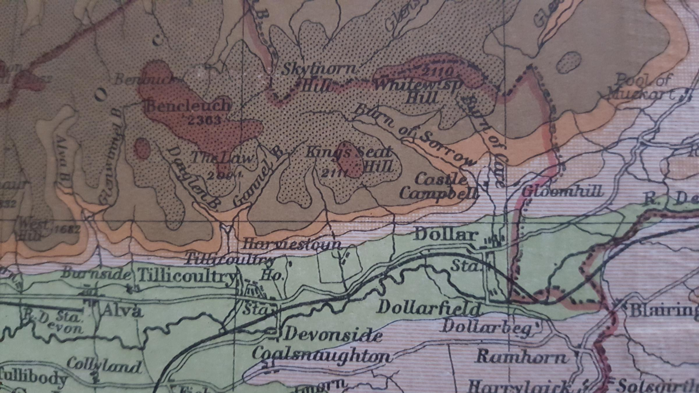 A map showing the location of King's Seat in the Ochils