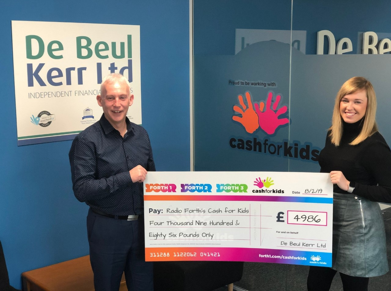 Brian Kerr, director at De Beul Kerr and Victoria Hendry, manager at Cash for Kid
