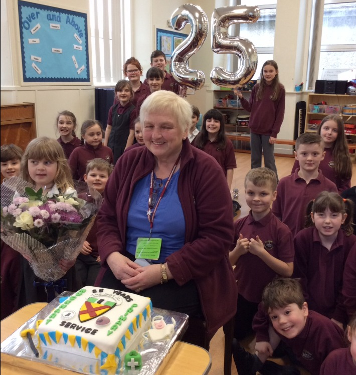 Muckhart Primary School's Christina Sutherland celebrating 25 years of service at the school