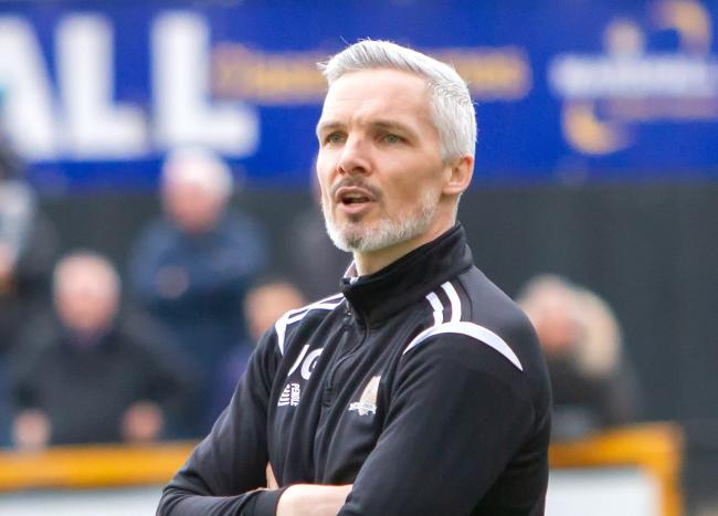 HUGE MOMENT: Jim Goodwin feels his side's win at Falkirk could be a defining moment in their survival bid. Picture by John Howie