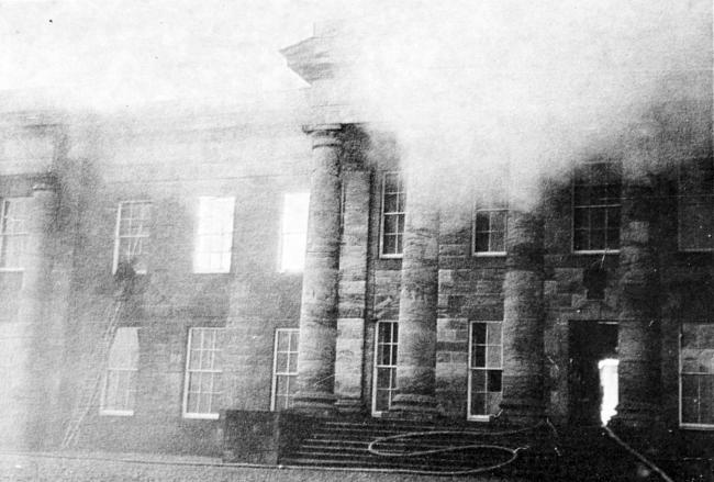 DEVASTATED: The smoke from the fire at the school was seen for miles. Picture courtesy of the Dollar Museum Photographic Collection