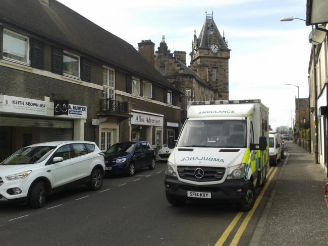 Emergency services were called to the scene outside Alloa Sheriff Court on March 25