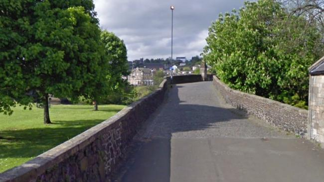 The approach to Old Stirling Bridge from Bridgehaugh Road. Picture from Google Maps