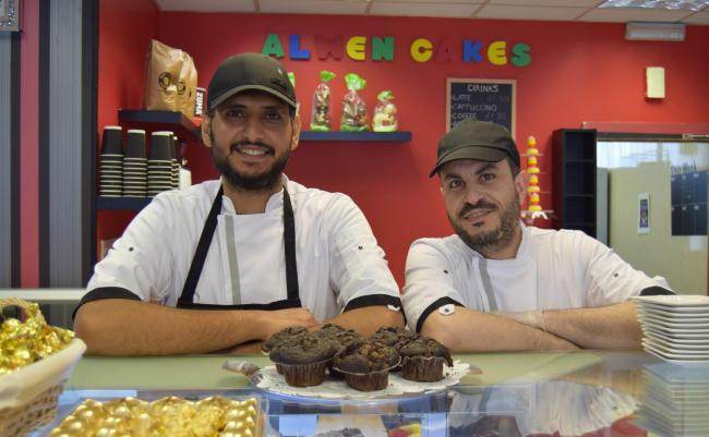 Foaud and Muhanad on the opening day of Alwen Cakes in Alloa - It is understood Muhanad was also involved in the recent effort