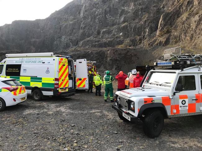 Volunteers assist partner agencies with a cragfast abseiler at Tillicoultry Quarry - Picture courtesy of the Ochils Mountain Rescue Team
