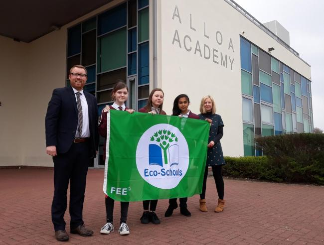 Pupils and headteacher Colin Bruce at Alloa Academy, which earned an Eco Schools Green Flag last year