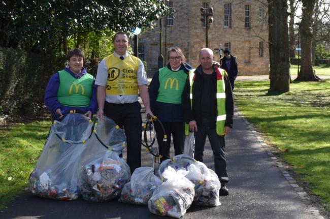 Staff gave up their time to help clean Alloa's streets